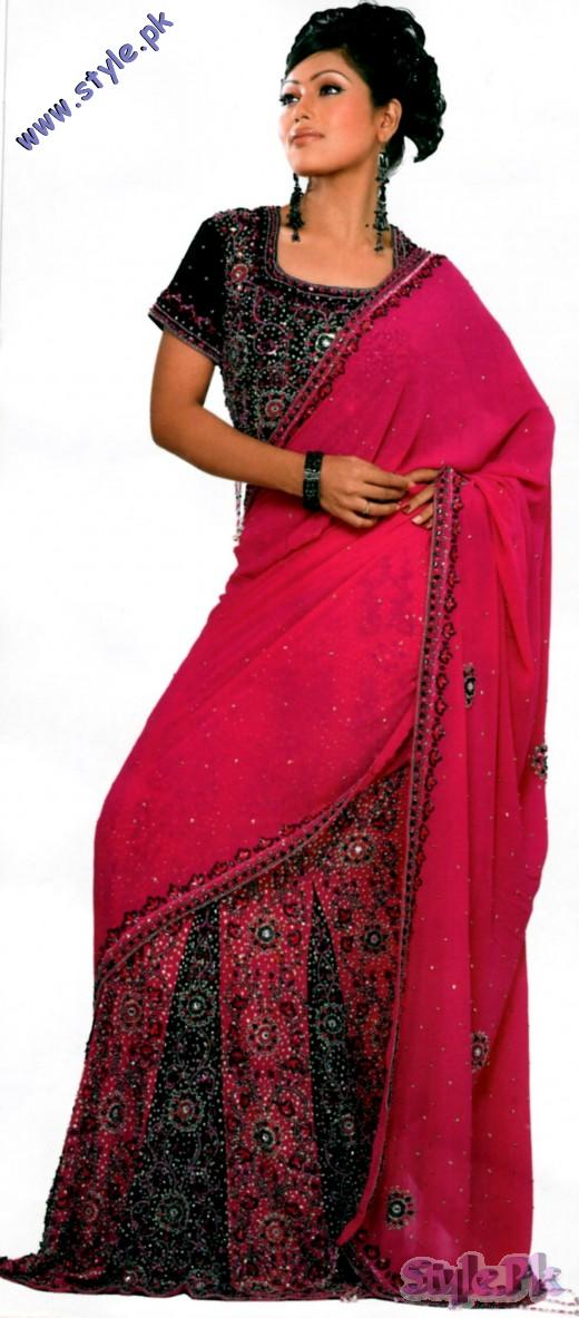 Elegance Black Fusia Red Saree for Bridal 520x1183 fashion trends