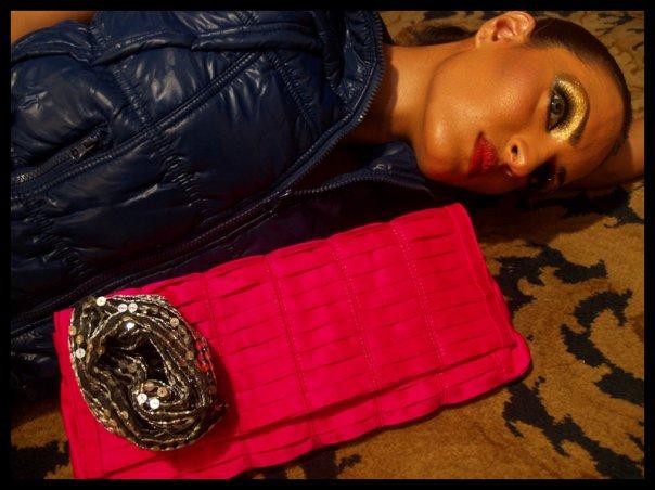 Nadia hussain with Mahin Hussain clutch bag