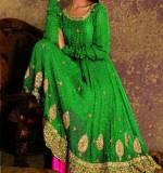 green frock with pink chori daar