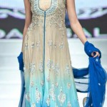 latest blue and white long gown aith chaffon dupatta for girls