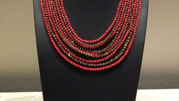 Coral and Swarovskis Necklace 011