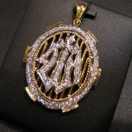 silver and gold plated Allah pendant for girls 1