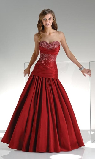 strapless red bridal ball gown