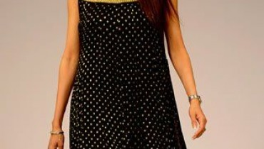 black dotted frock for girls with golden lappa67