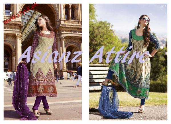 Latest Embroidered Suits Collection by Asianz Attire 2012-005