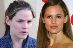 Jennifer Garner With&without makeup