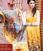 Gul Ahmed Digital Silk Dresses 2014 For Girls 1