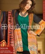 Gul Ahmed Digital Silk Dresses 2014 For Girls 3