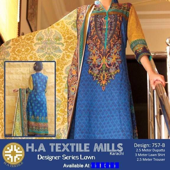 H.A Textile Lawn Dresses 2014 For Women 002