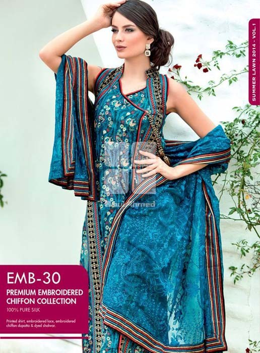 Gul Ahmed Premium Embroidered Lawn Dresses 2014 For Women 007