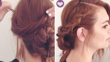 How to make side braid bun hairstyle 7