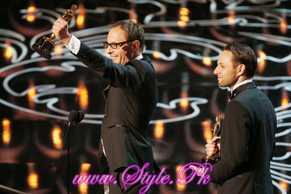 Laurent Witz (L) and Alexandre Espigares awarded for Mr Hublot
