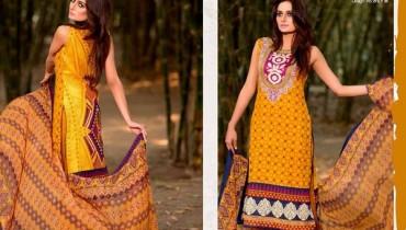 Ajwa Textiles Lawn Dresses 2014 Volume 4 For Women