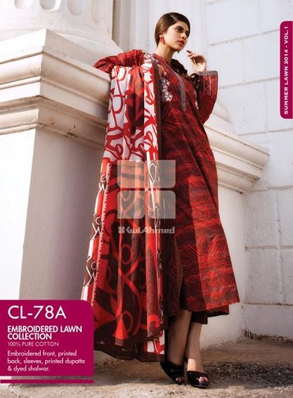 Gul Ahmed Embroidered Lawn Dresses 2014 For Women 004
