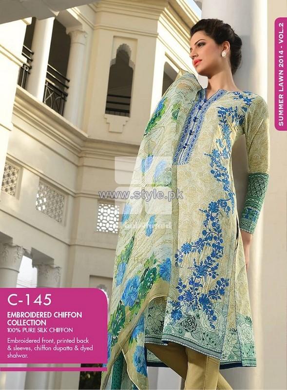 Gul Ahmed Chiffon Dresses 2014 For Summer 4