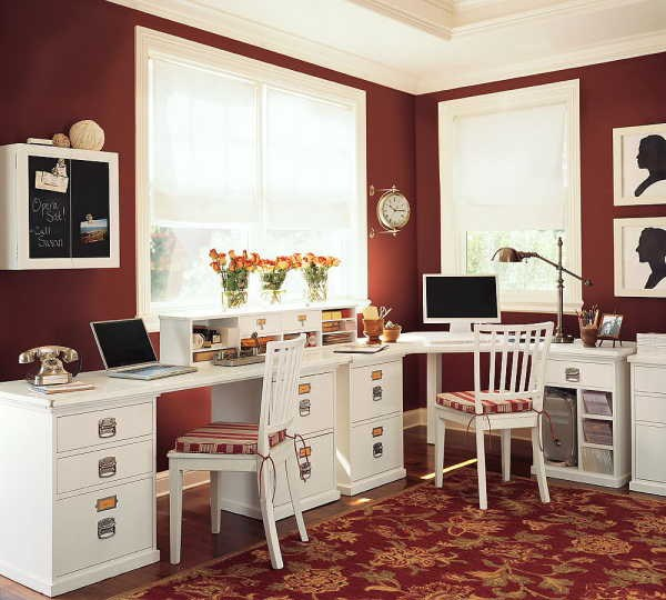 Home Office Designs With Red Accents