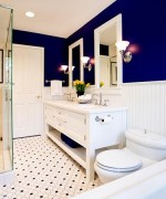 How To Use Blue And White Colors For Bathroom Decoration --013
