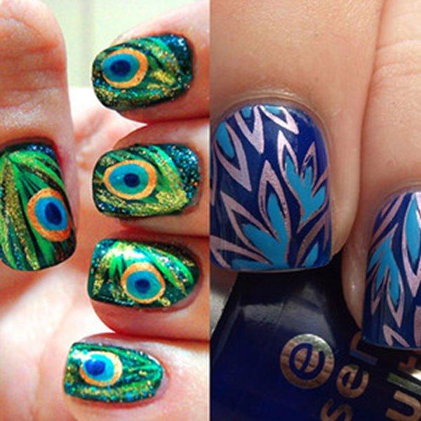 Дизайн ногтей перо и птицы