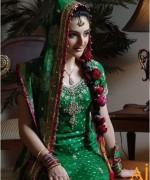 Trends Of Green Mehndi Dresses 2014 For Women 009