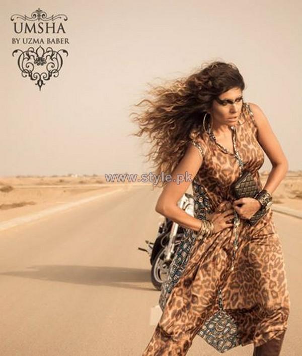 Umsha By Uzma Babar Silk Dresses 2014 For Girls 3