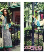 Zanisha Embroidered Linen Dresses 2014 by Al-Zohaib Textile 4