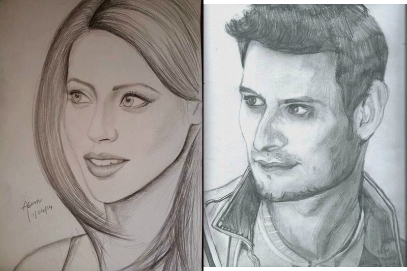 Beautiful Handmade Sketches Of Pakistani Celebrities