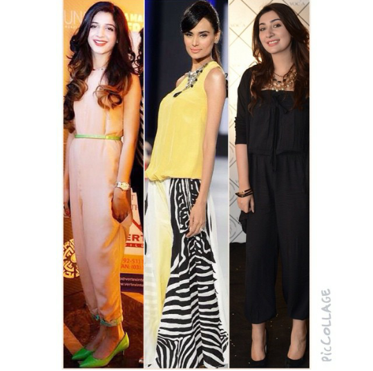 """See Jumpsuits Fashion was at its peak by the end of 2013. But in 2014, Jumpsuits Fashion was moderate. Now again Jumpsuits fashion is coming back. Jumpsuits are becoming fast indispensable wardrobe staples. This dress is gaining popularity in 2015. Jumpsuit is a formal party dress. We love how a single jumpsuit take you how many places. Jumpsuits Fashion 2015 for women:- Jumpsuits Fashion 2015 includes funky colors dresses. You can make gown a part of jumpsuit.You can wear it with slats or sky high heels and accessories to take it comfortably into the night. A Pakistani Fashion designer said, """"Jumpsuit will remain a necessary fashion piece"""". Pakistan's leading ladies show us Jumpsuits fashion 2015 by wearing them:- Mawra Hocane rocks this light tone Jumpsuit teaming it with green belt along with a wrist watch and pumps. Mawra is giving a whole meaning of trendy and classy look which you can have by adopting Jumpsuits Fashion 2015. She has always been a style diva who rocked every look. You can also rock by wearing it.  Mehreen looks spectacular in two toned jumpsuit. The necklace she's wearing with jumpsuit has made her look more stunning. She's looking fabulous by wearing this jumpsuit.  Ayehsa Khan is wearing black jumpsuit which is making her look cool and safe. She's sizzling this outfit with high heels along with neck piece. This outfit is easily available from designer stores to high street brands and flea markets.  Here we have collection of Jumpsuits Fashion 2015 for women"""
