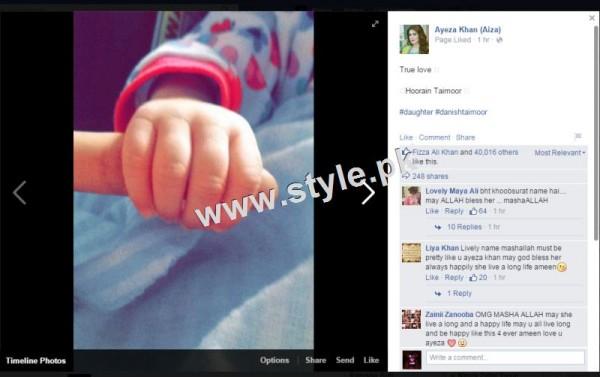 Ayeza and Danish decided daughter name Hoorain Taimoor