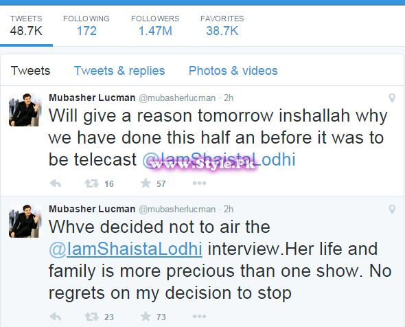 See which Mubasher Lucman takes decision not to on air Shaista Lodhi's Interview with him on Baaghi TV