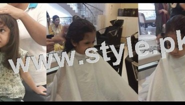 See Pictures of Fahad Mustafa's daughter while having a haircut