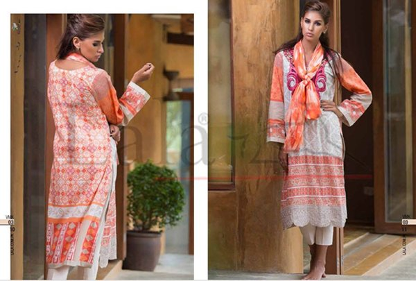 Lala Textiles Semi Stitched Collection 2015 For Women001