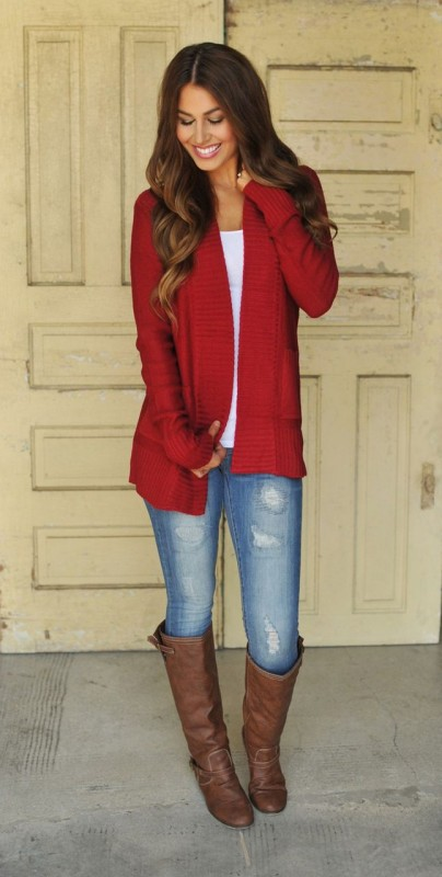 How to Manage White Dresses in Winter-hot red