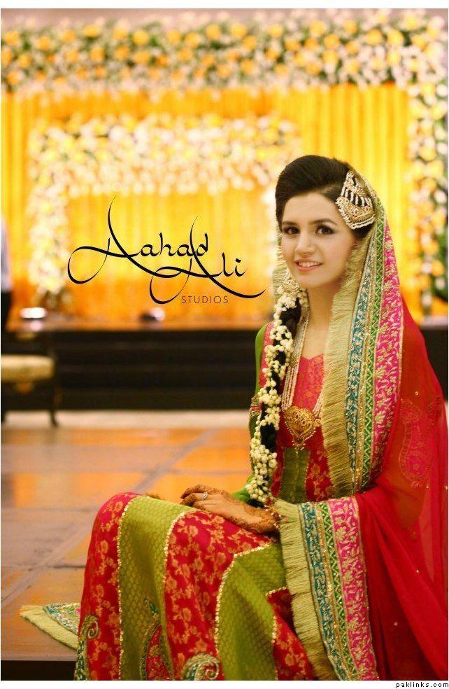 Pakistani Mehndi Dresses 2016 Green Red Style Pk