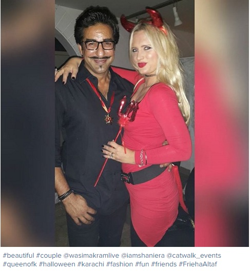 wasim akram with wife at halloween