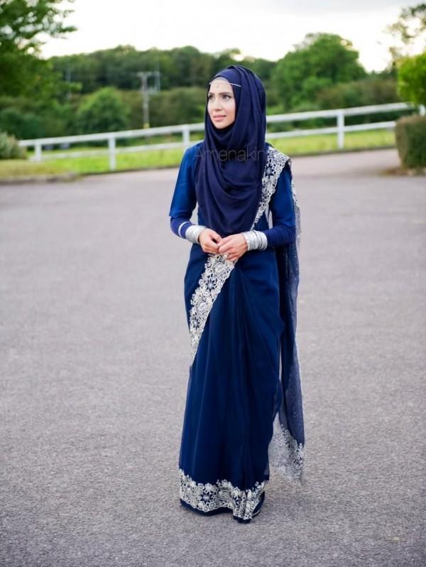 Formal Hijab Styles 2016-saree