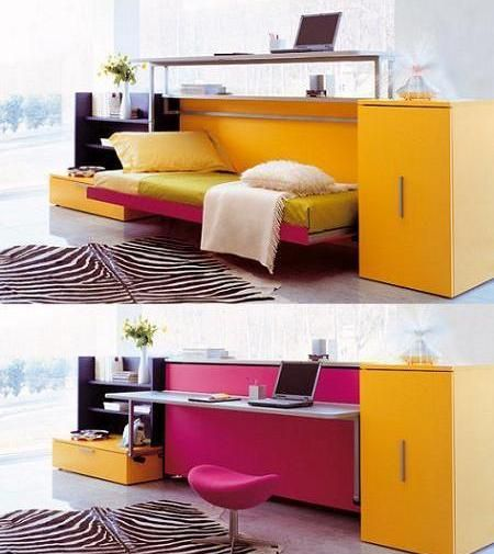 Convertible Furniture Ideas for Small Space. pink