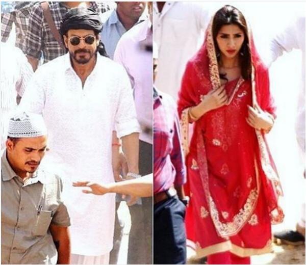 Shahrukh Khan and Mahira Khan Snapped in Ahmadabad Shootinf for Raees