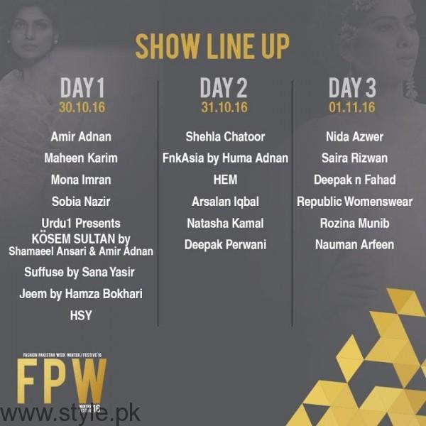 Fashion Pakistan Week Lineup