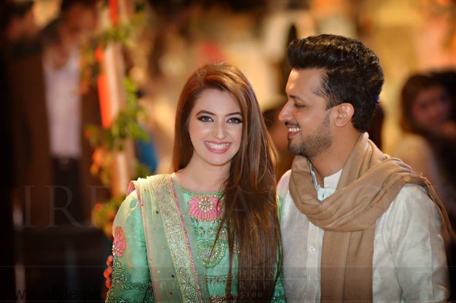 Atif Alsam with his wife at a Wedding Ceremony in Lahore ...