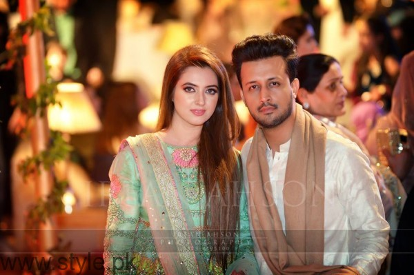 atif alsam with his wife at a wedding ceremony in lahore