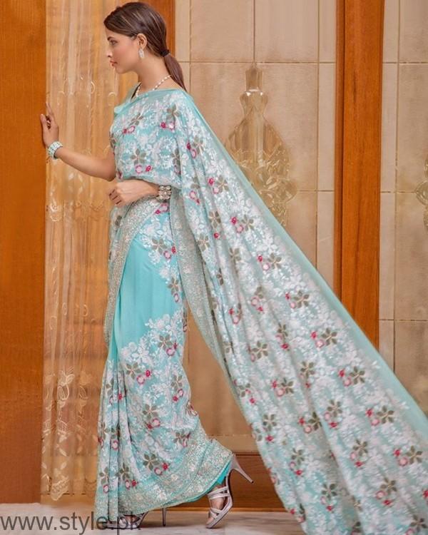 Palwasha Fabrics Light Blue Chiffon Embroidered Stitched Saree