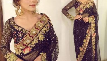 See Sumbal Iqbal Looks Glamorous in Black Saree