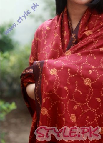 Pashmina Overall Handwoven Maroon Shawl For Girls