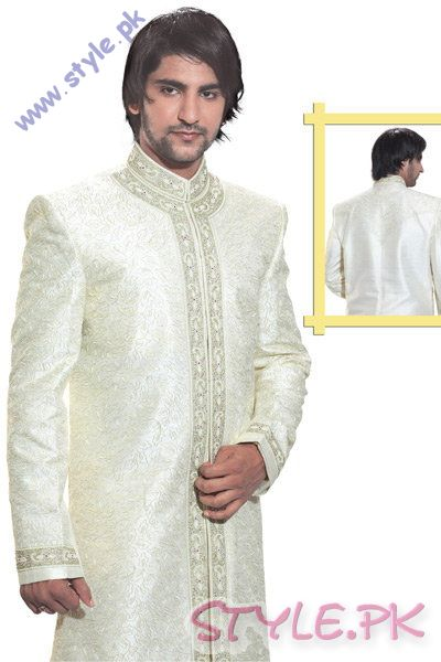 White Silk Sherwani For BrideGrooms sherwani and gowns men wear