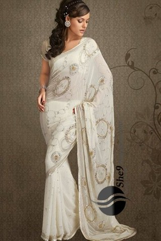 elegant white indian saree