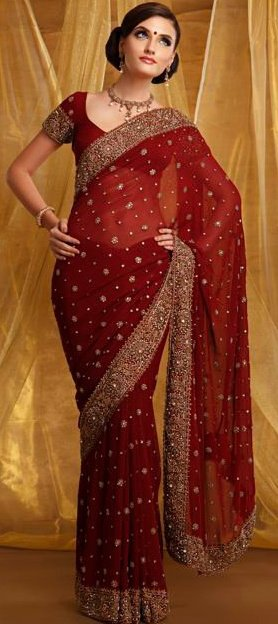 gorgeous embroidered formal red saree stylish dresses local designer clothes for women