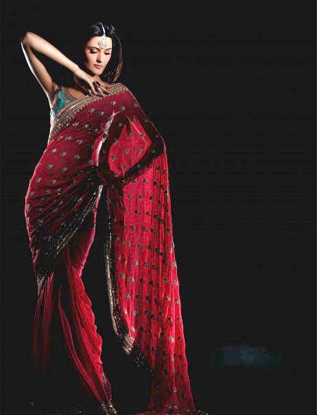 vibrant pink indian semi formal saree