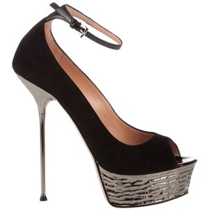 Black peep toe shoes shoes and bags
