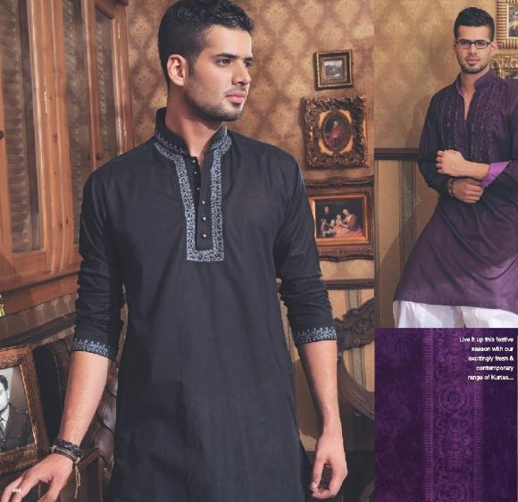 Designs of Black kurta shalwar for men 2011 collection mens wear 2