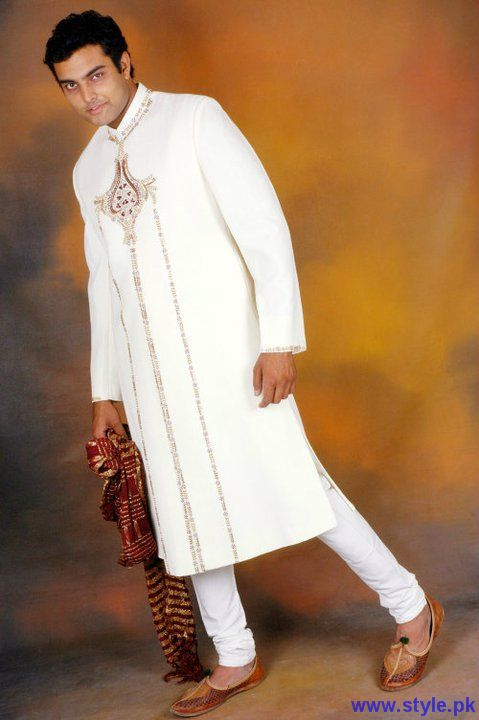 White Wedding Sherwani For Boys